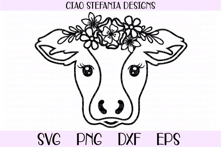 Cow With Flower Crown SVG Cut File
