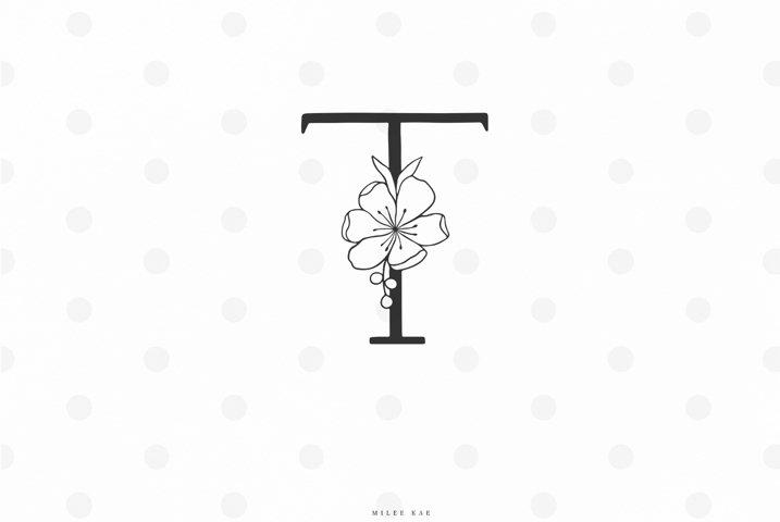 Floral letter svg cut file, alphabet, flower font