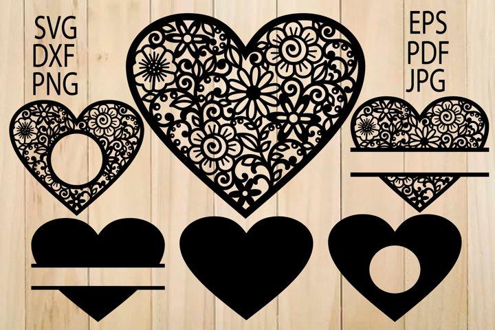 Heart SVG, Zentangle Heart SVG, Mandala Heart, Heart Frames