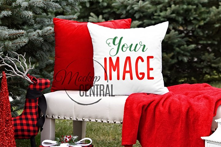 White Square Mockup Bench Christmas Pillow JPG