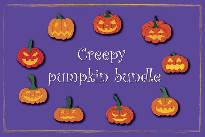 Creepy pumpkin SVG,Halloween Pumpkins bundle,Pumpkin clipart
