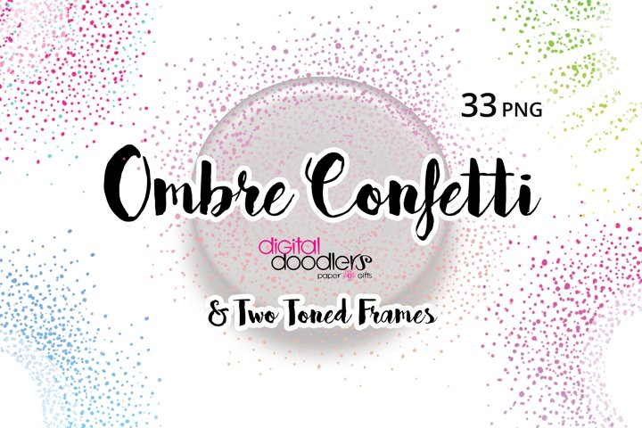Ombre & Two Toned Confetti PNG Frames