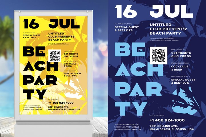 Beach Party Poster Template