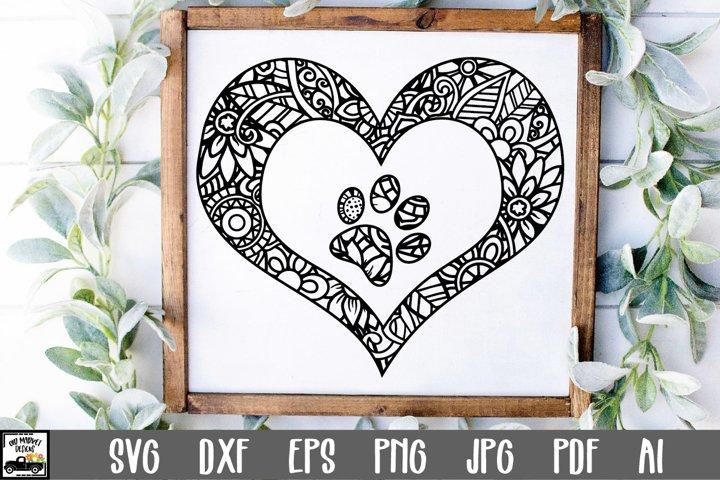 Paw Prints in Heart Mandala SVG Cut File