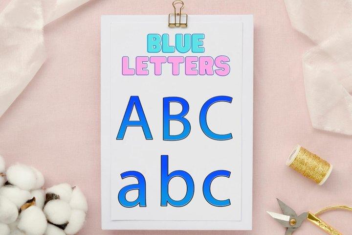 Blue Typography, Blue Sparkle Font, Blue Shiny Font
