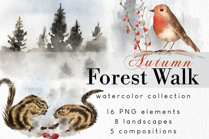 Woodland animals clipart with watercolor fall landscapes