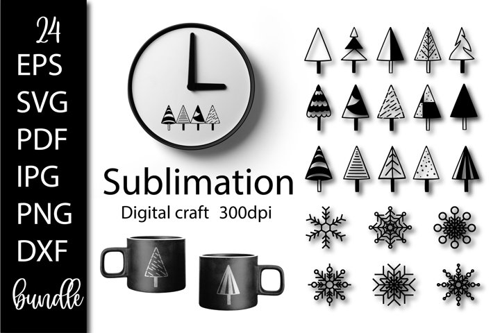 Snowflakes SVG. Christmas tree SVG. Sublimation