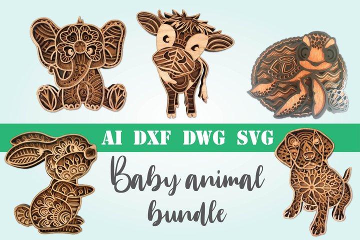 Animal bundle 3d svg layered Multi layer mandala Baby animal