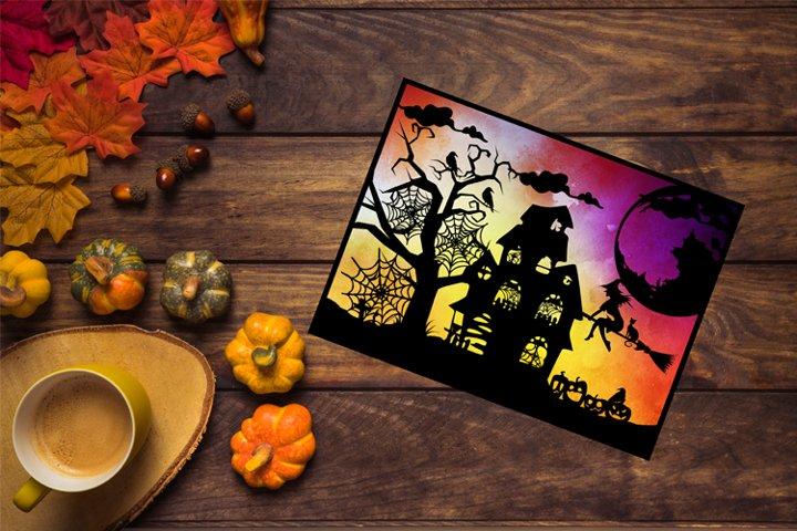 Halloween SVG, Halloween Papercut Template, Witch SVG