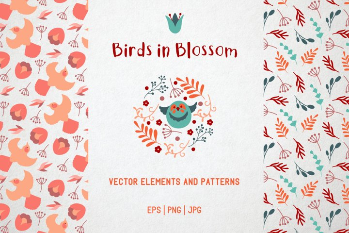 Birds in blossom. Flowers and birds vector clipart