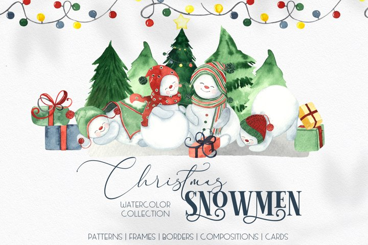 Watercolor Christmas snowmen