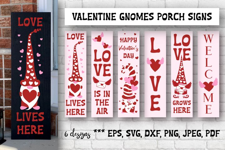 Valentine Gnomes Porch Signs. SVG cutting files.