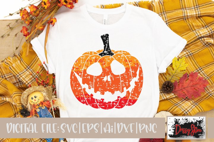 Halloween SVG DXF Ai EPS PNG Pumpkin Face Ombre Grunge
