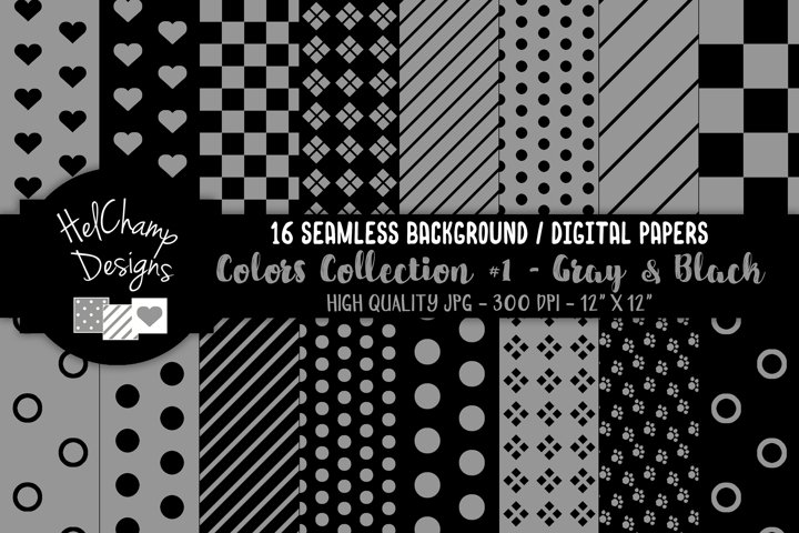 16 seamless Digital Papers - Gray and Black - HC107