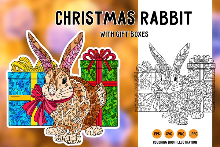 Christmas rabbit with gifts svg. Coloring book illustration.