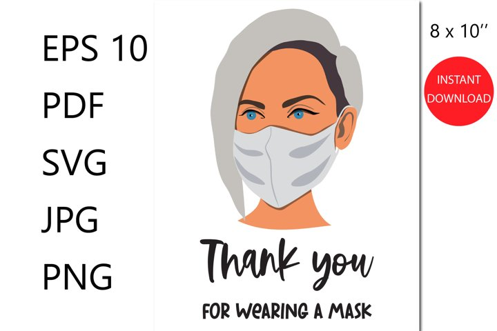 Thank you for wearing a mask sign EPS, PDF, SVG, JPG, PNG