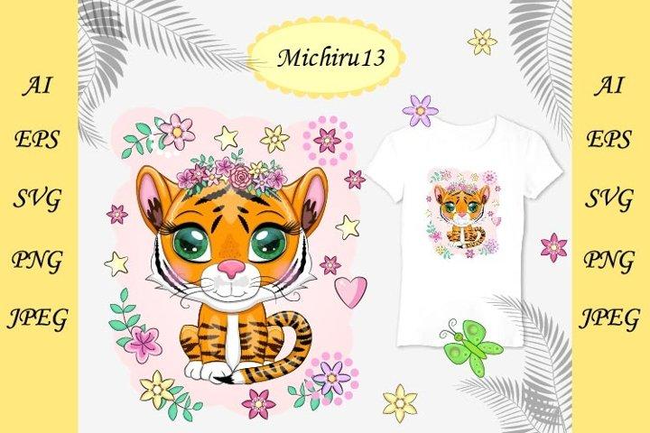 Cute cartoon orange tiger, bright eyes