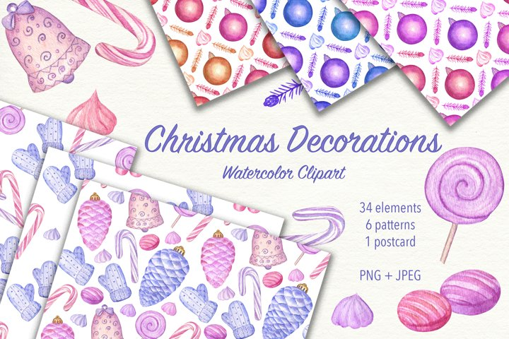 Christmas Decorations. Watercolor clipart. JPEG, PNG
