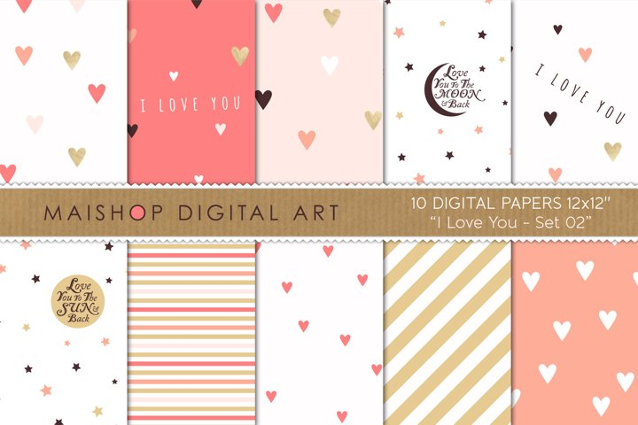 Instant Download Digital Paper Pack - I love You Set 02
