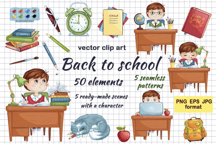 Back to school. Vector set of elements and cartoon character