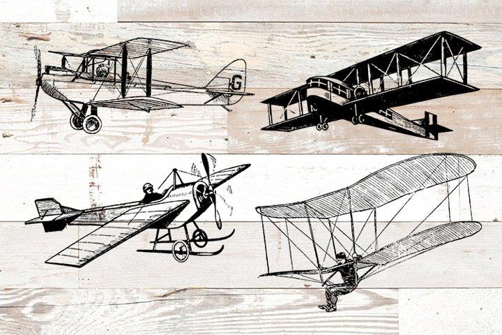 Vintage Airplanes Bundle PNG, EPS, SVG Vector