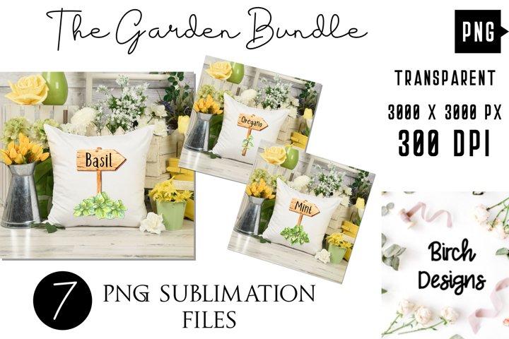 Gardening Herbs PNG Bundle, Garden Labels Sublimation