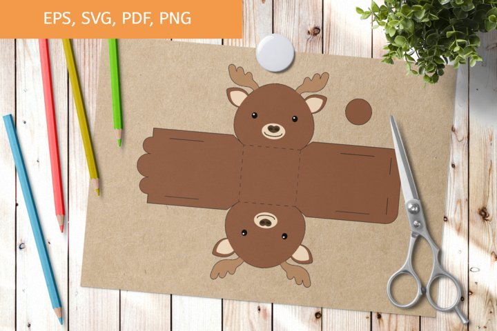Cute Moose Gift Box Template SVG, Gift Box SVG