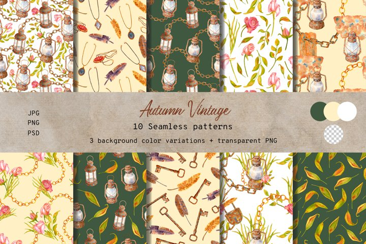 Autumn Vintage. Watercolor seamless pattern Collection