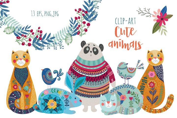 Cute animals clipart, kids room wall art. Digital art