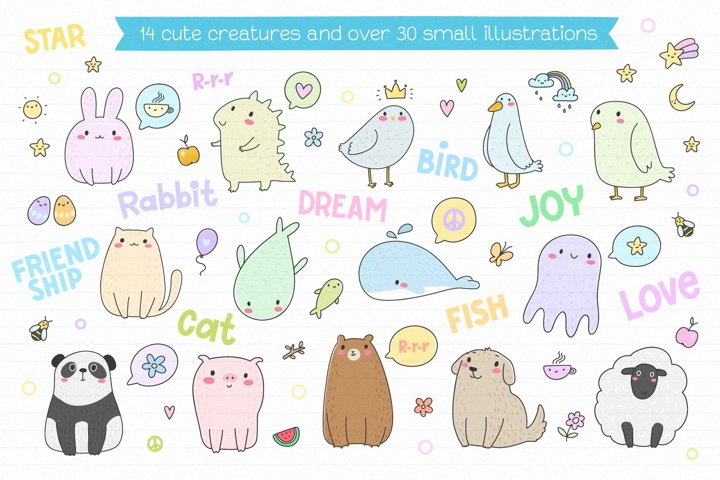 Cute Creatures Vector Set example 1