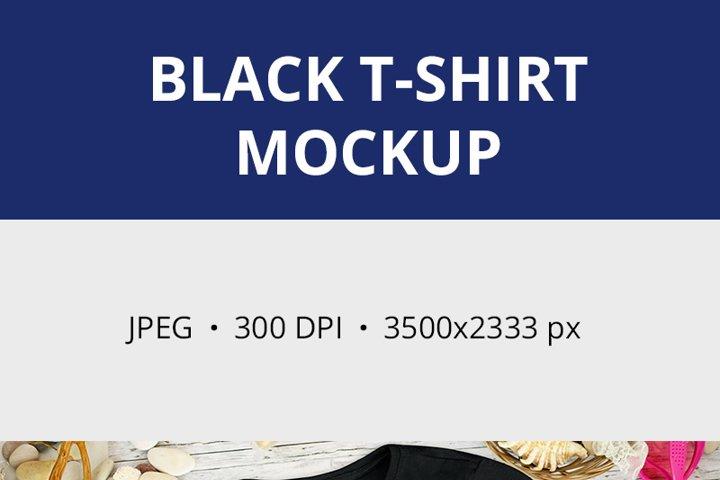 Summer Black t-shirt Mockup, Beach t-shirt mockup 1200 example 1