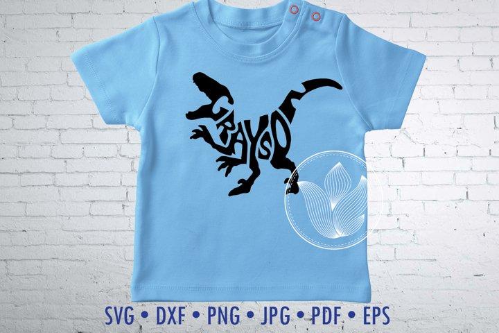 Grayson Word Art in dinosaur shape, jpg, png, eps, svg, dxf
