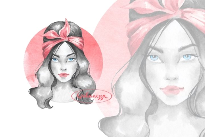Summer girl 2. Watercolor illustration
