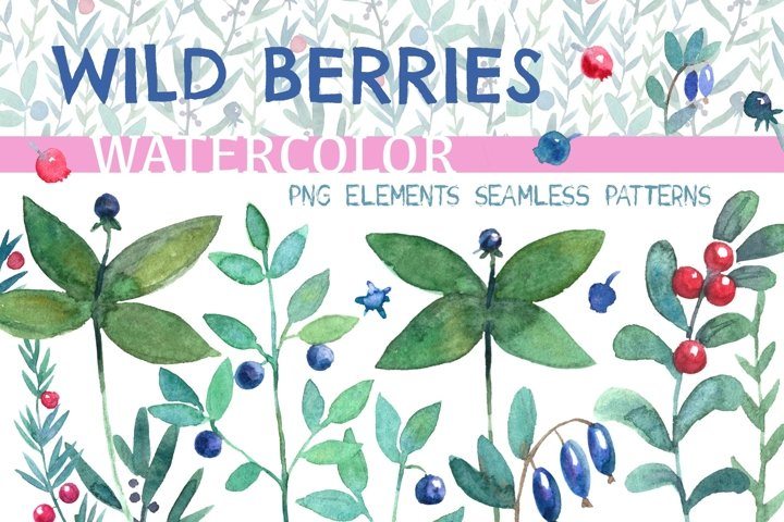 Wild berries. Watercolor collection