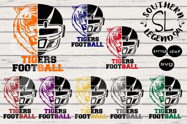 Tigers Football two toned bundle 8 designs png svg dxf