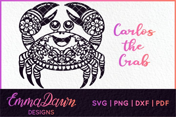 CARLOS THE CRAB SVG MANDALA / ZENTANGLE DESIGN