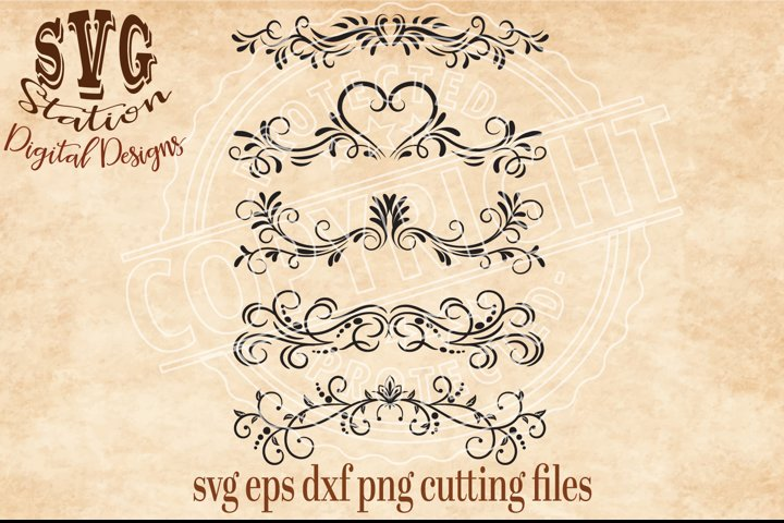 5 Ornamental Flourish Borders Cut File