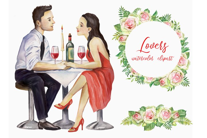 Lovers watercolor clipart, romance, greeting wedding cards