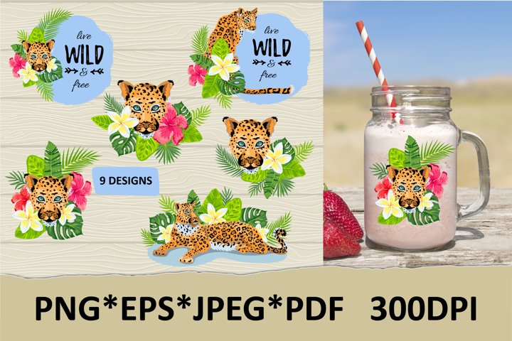 Designs with leopard, tropical leaves and flowers.