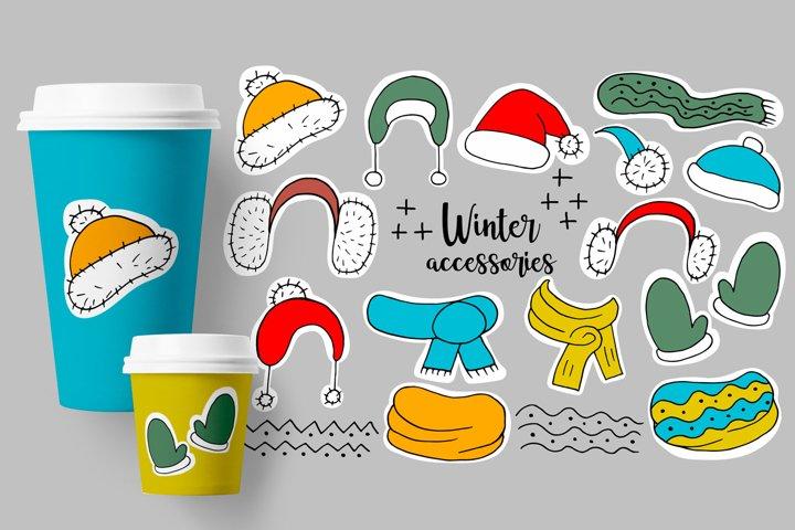 Set of winter accessories. Winter