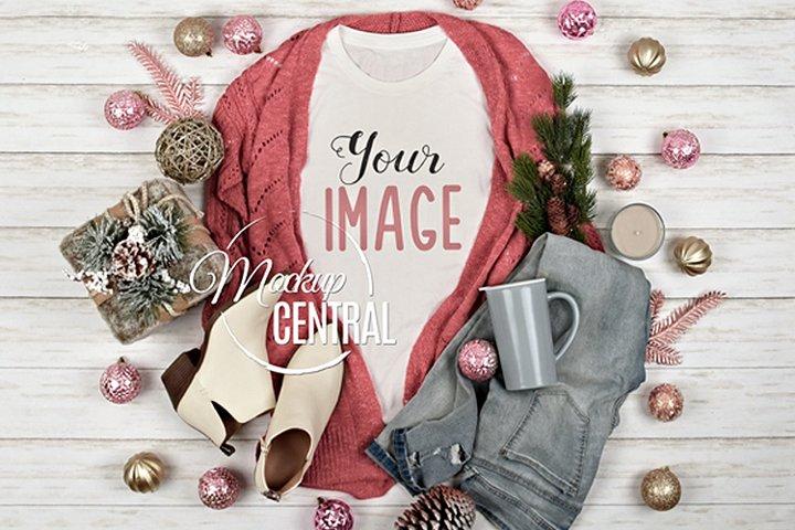 Pretty Womens White T-Shirt Pink Christmas Shirt Mock Up