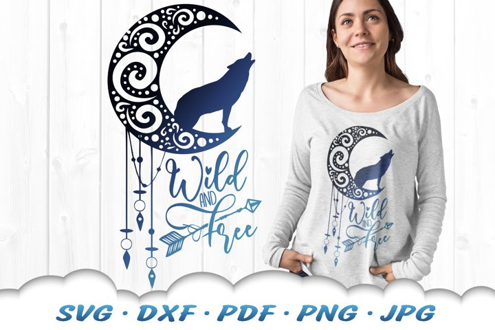 Wild And Free Dreamcatcher Wolf SVG DXF Cut Files