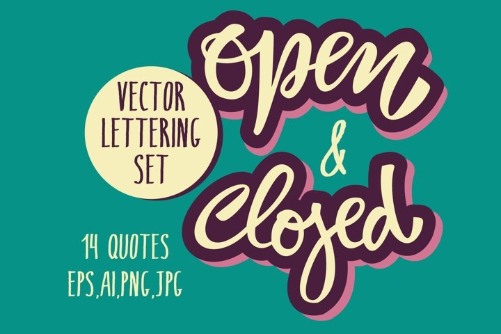 Open & Closed Vector Lettering Set