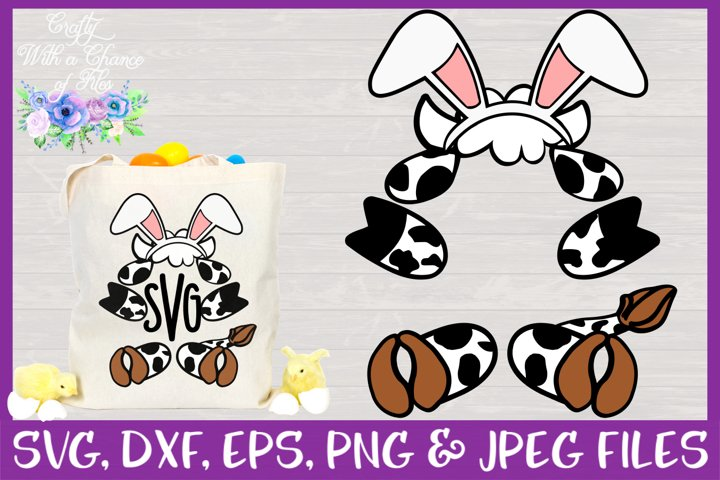 Cow with Bunny Ears Monogram SVG - Easter Basket Design CWAC