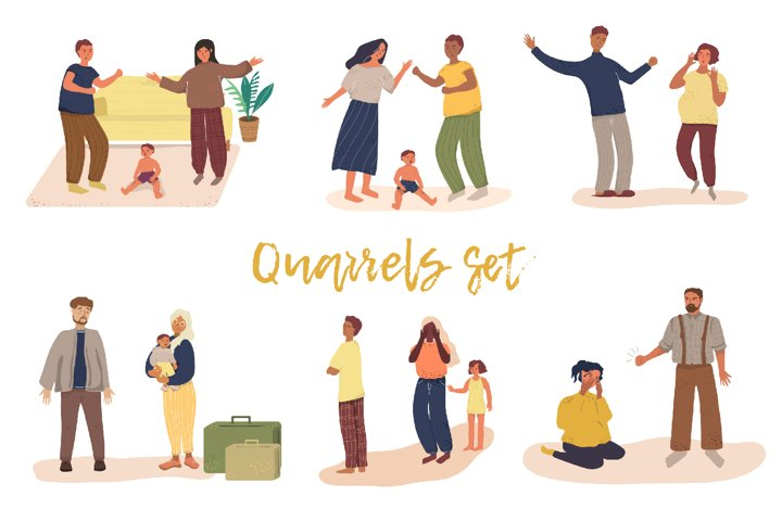 Family Quarrels Vector Illustrations