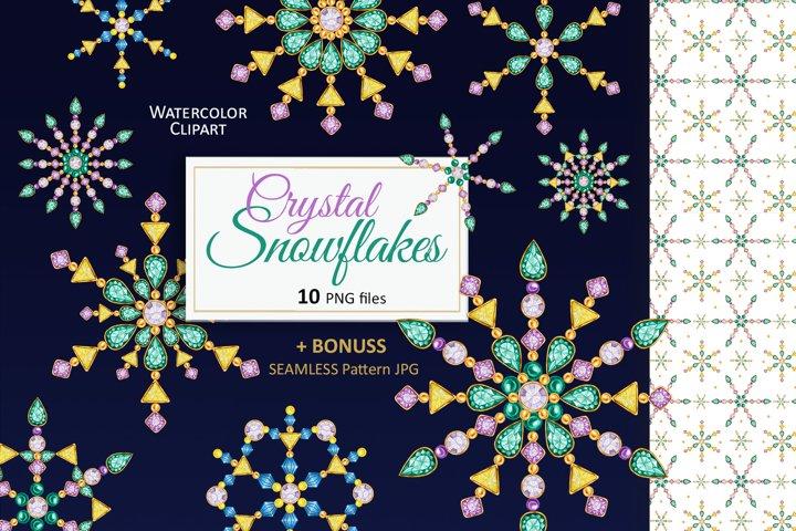Crystal Christmas Snowflakes Diamonds Jewelry Watercolor Set