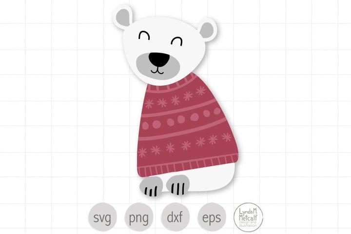 Polar Bear SVG Cut File for Christmas, Winter Bear SVG