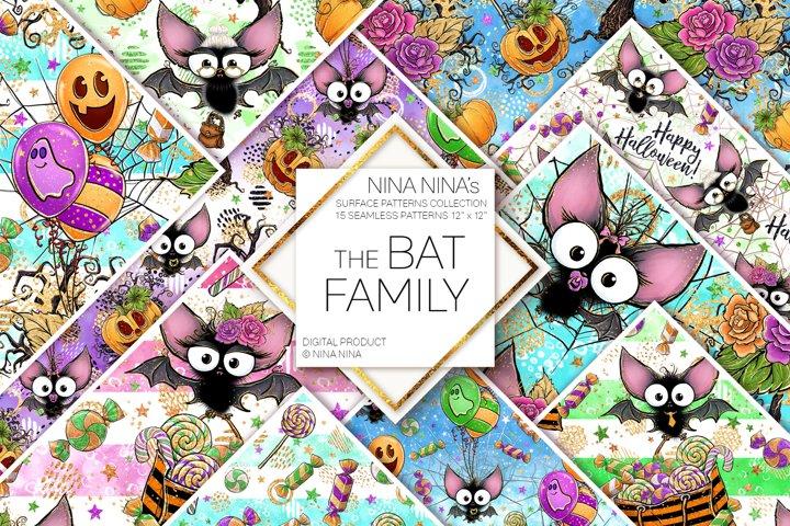 Cute Halloween Seamless Patterns, Bats Digital Papers Pack