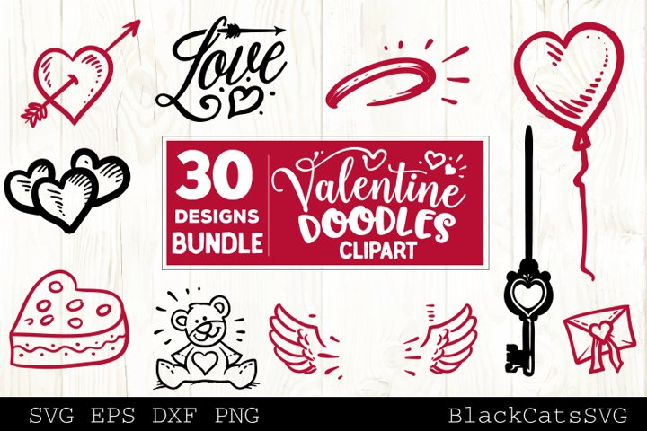 Valentine Doodles SVG bundle love clipart SVG 30 designs example 1