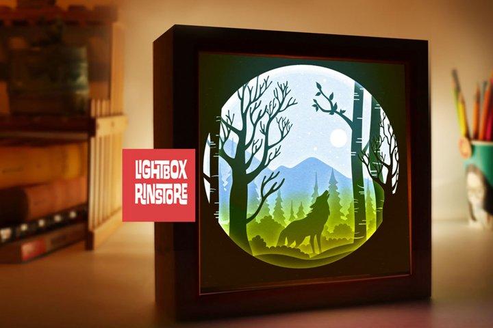 #148 Wolf wind, 3D Shadow box paper cut lightbox